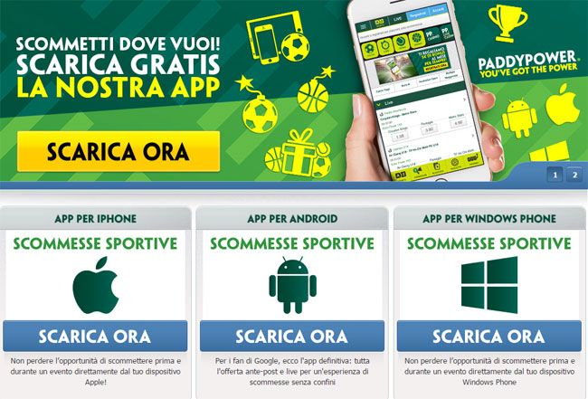 App Paddy Power per scommettere da mobile